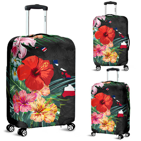 Alohawaii Luggage Covers - Hawaii Map Hibiscus - AH | Accesories