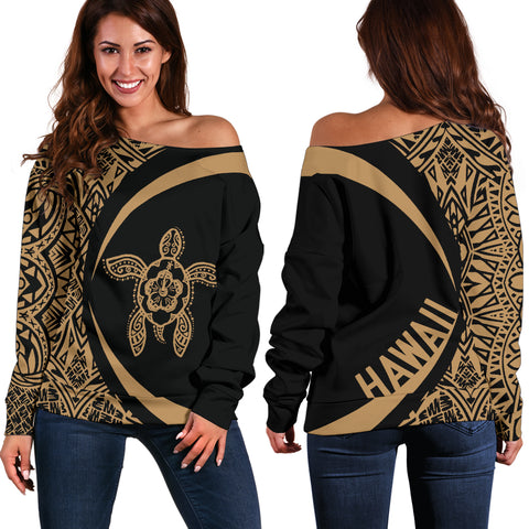 Hawaii Turtle Polynesian Women's Off Shoulder Sweater - Circle Style - Golden