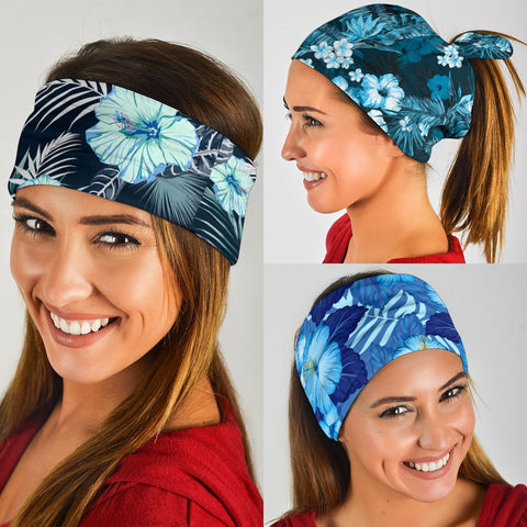 Image of Hawaiian Hibiscus Blue Set Bandana 3-Pack J0 - Alohawaii