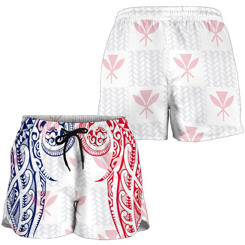 Hawaiian Kanaka Women's Shorts Flag Nation Demodern White