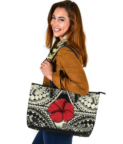 Personalised - Hawaii Hibiscus Culture Polynesian Large Leather Tote - AH - J5 - Alohawaii