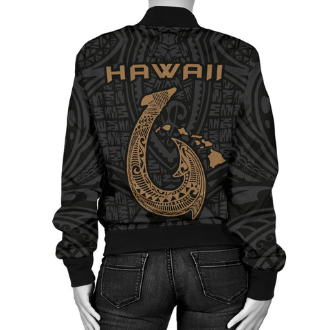 Hawaii Warrior And Hook Women's Bomber Jacket - AH J4 - Alohawaii