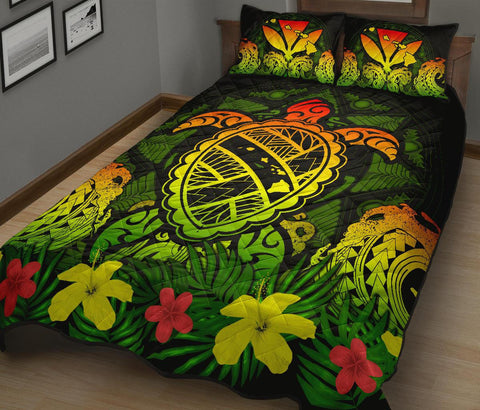 Hawaii Turtle Polynesian Reggae Quilt Bed Set - Kuly Style - AH - J4