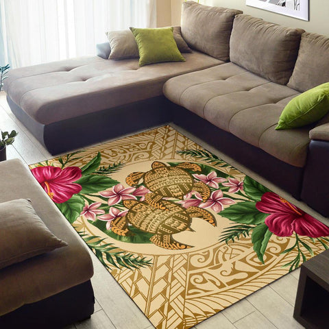 Image of Alohawaii Rug - Turtle Strong Pattern Hibiscus Plumeria AH J1 - Alohawaii