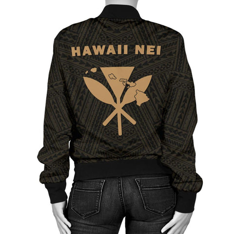 Image of Hawaii Kanaka Polynesian Women's Bomber Jacket Gold - AH - J71 - Alohawaii