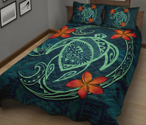 Hawaii Turtle Polynesia Tropical Quilt Bed Set - Tax Style - AH - J4