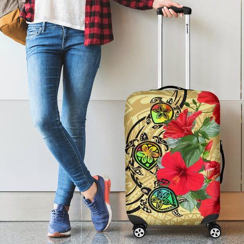 Hawaiian Marble Turtles Hibiscus Luggage Covers