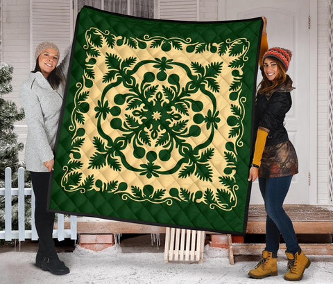 Image of Hawaiian Premium Quilt Royal Pattern - Emerald Green - AH - J6 - Alohawaii