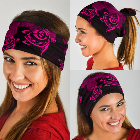 Image of Hawaii Turtle Ohana Hibiscus Polynesian Bandana 3-Pack - Unique Style Pink - AH - J4 - Alohawaii