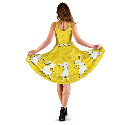 Hawaiian Hula Girls Dance in Yellow Midi Dress - AH J5 - Alohawaii