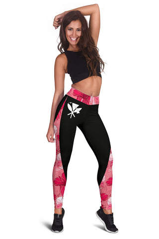 Hawaii Hibiscus Pink Background Leggings - AH J9 - Alohawaii