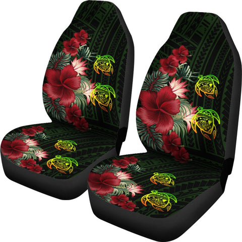 Hawaii Car Seat Cover - Turtle Hibiscus Pattern Hawaiian Car Seat Cover - Green