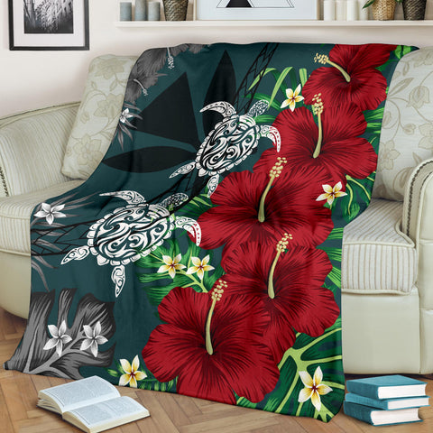 Image of Hawaii Map Turtle Hibiscus Plumeria Polynesian -Premium Blanket AH J2