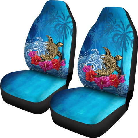 Hawaii Sea Turtle Hibiscus Coconut Tree Car Seat Cover