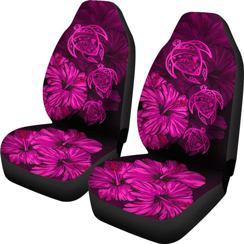 Image of Hawaiian Map Turtle Hibiscus Pink Vintage Polynesian  Car Seat Covers - AH J9 - Alohawaii