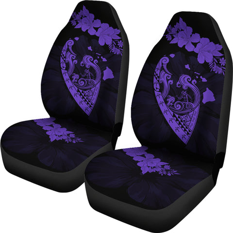 Image of Hawaii Hibiscus Banzai Surfing Car Seat Cover V2 Purple - AH - J5 - Alohawaii