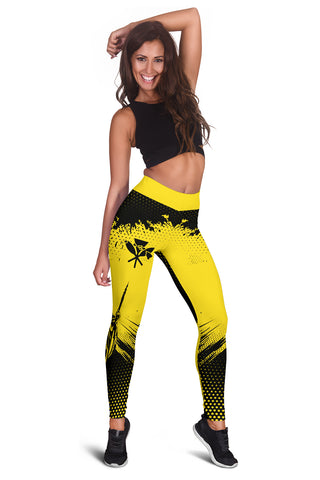 King Kamehameha Hawaii  Leggings - Yellow - Vincent Style - AH J91 - Alohawaii