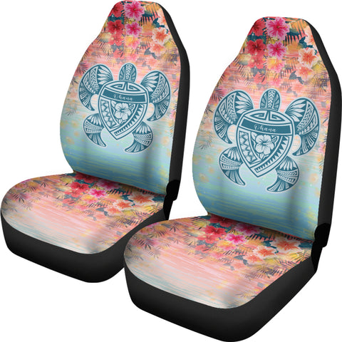 Hawaii Turtle Ohana Stary Night Hibiscus Car Set Cover - AH - J4 - Alohawaii