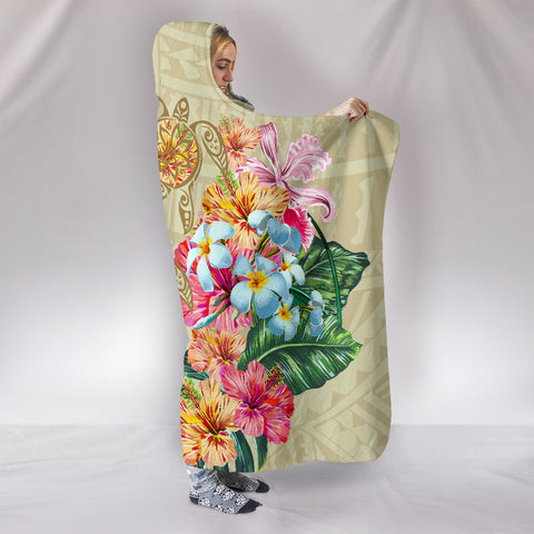 Hawaii Polynesian Flowers Swimming Turtles Hooded Blanket - AH - J5 - Alohawaii