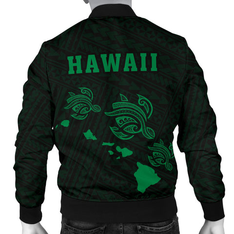Hawaii Kakau Polynesian Three Turtles Map Men's Bomber Jacket - Green - AH - J6 - Alohawaii