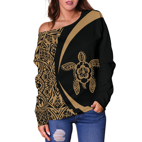 Hawaii Turtle Polynesian Women's Off Shoulder Sweater - Circle Style - AH - Golden J9