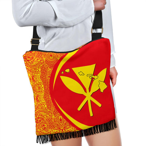 Hawaii Crossbody Boho Handbag Kanaka Polynesian - Circle Style Red And Yellow - AH - J71 - Alohawaii