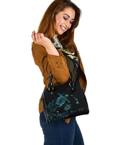 Image of Personalized - Hawaii Turtle Ohana Paua Shell Shoulder Handbag - AH - J4