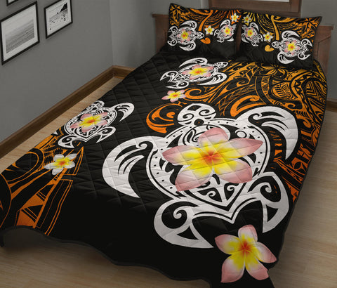 Hawaii Turtle Plumeria Quilt Bed Set