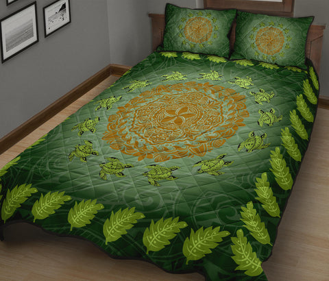 Hawaii Tropical Pattern Turtle Polynesian Quilt Bed Set