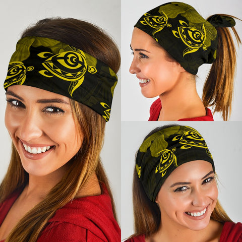 Image of Hawaii Turtle Ohana Hibiscus Polynesian Bandana 3-Pack - Unique Style Yellwo - AH - J4 - Alohawaii