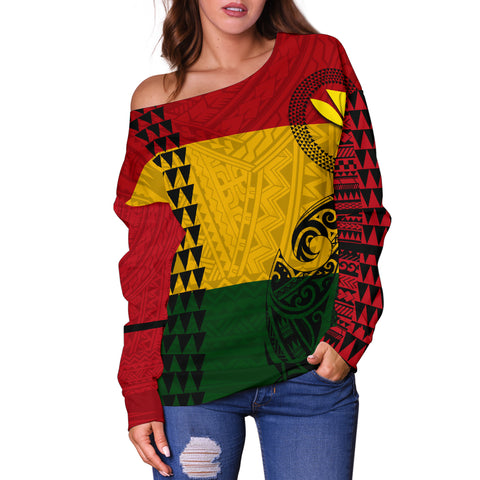 Hawaii Kanaka Flag Polynesian Women's Off Shoulder Sweater - AH - J6