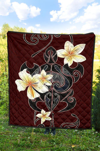 Turtle Poly Tribal Plumeria Red Premium Quilt - AH J9 - Alohawaii
