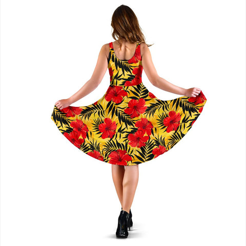 Hawaii Tropical Flowers And Palm Leaves Midi Dress   - AH - J71