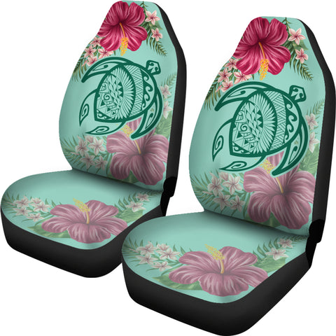 Hawaii Turtle Hibiscus Plumeria Car Set Cover - Hug Style