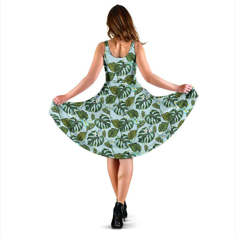 Hawaii Tropical Flowers Monstera Leaf Midi Dress   - AH - J71