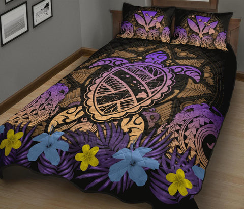 Hawaii Turtle Polynesian Gold Quilt Bed Set - Kuly Style - AH - J4 - Alohawaii