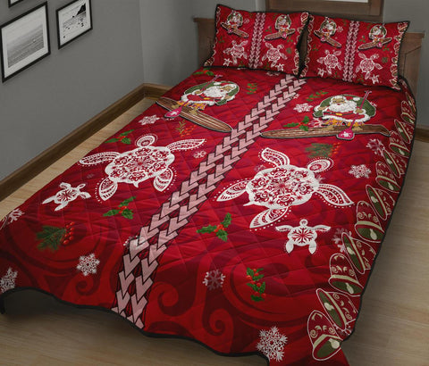 Hawaii Turtle Santa Claus Pattern Christmas Quilt Bed Set - San Style