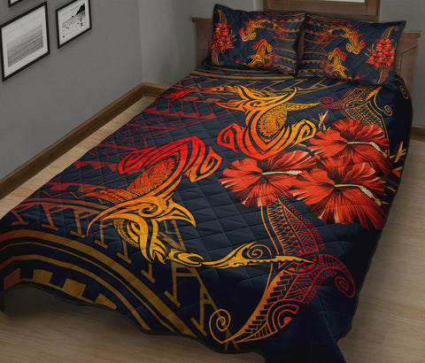 Hawaii Couple Shark Hibiscus Polynesian Quilt Bed Set - Mina Style