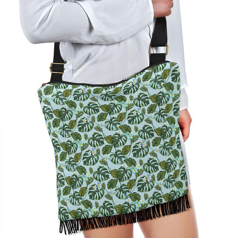 Image of Hawaii Tropical Flowers Monstera Leaf Crossbody Boho Handbag - AH - J71 - Alohawaii