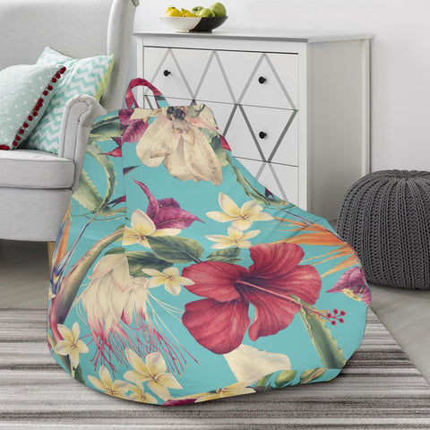 Hawaii Seamless Floral Pattern With Tropical Hibiscus, Watercolor Bean Bag Chair - AH - J71 - Alohawaii