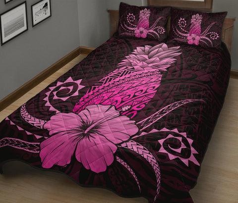 Image of Hawaii Polynesian Pineapple Hibiscus Quilt Bed Set - Zela Style Pink - AH - J4 - Alohawaii