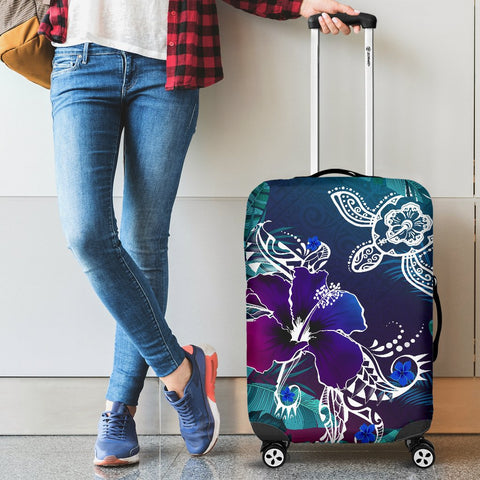 Alohawaii Luggage Covers - Hawaii Turtle Flowers And Palms Retro - AH J8 - Alohawaii