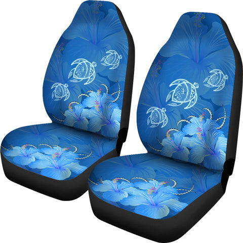 Hawaii Blue Hibiscus Turtle Polynesian Car Set Cover