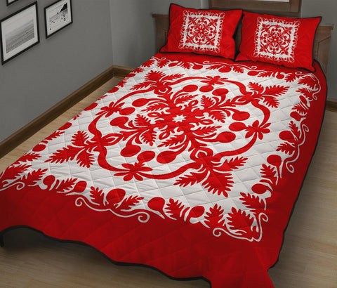 Image of Hawaii Quilt Bed Set Royal Pattern - Red And White - AH - J6 - Alohawaii