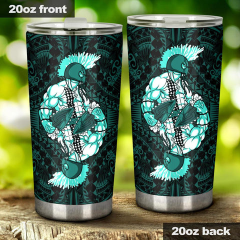 Hawaii Polynesian Warrior Tumbler Turquoise - AH - J5 - Alohawaii