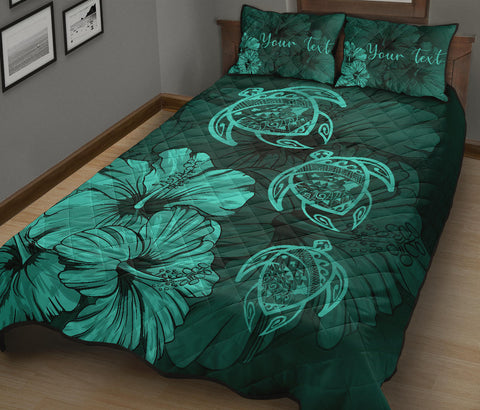 Personalized - Hawaii Map Turtles Hibiscus Quilt Bed Set - Turquoise - AH - J96 - Alohawaii