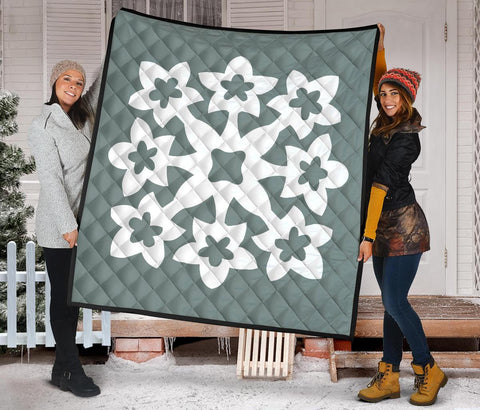 Hawaiian Premium Quilt Royal Pattern - Grey - A1 Style