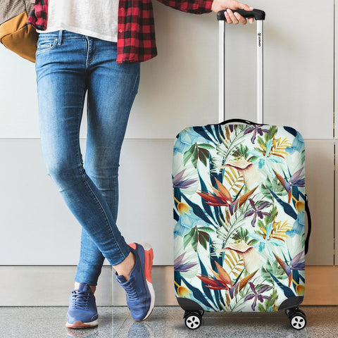Tropical Flower Plant And Leaf Pattern Luggage Cover - AH - J1 - Alohawaii