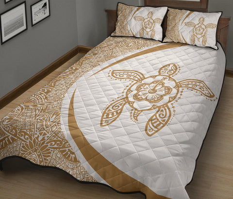Hawaiian Polynesian Turtle Quilt Bed Set-Circle Style Gold And White - AH - J7 - Alohawaii