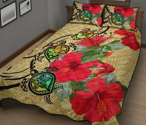 Hawaiian Marble Turtles Hibiscus Quilt Bed Set - AH J0 - Alohawaii